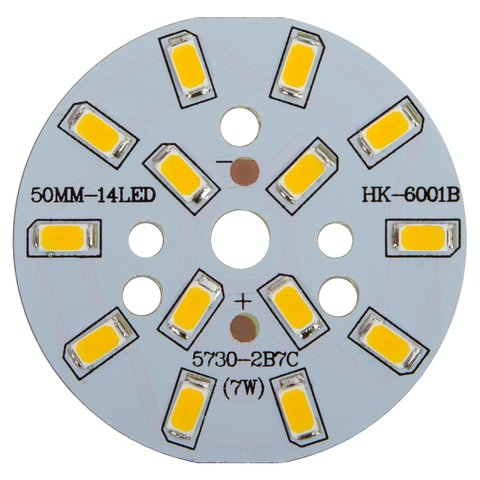 PCB with LEDs 7 W warm white, 840 lm, 50 mm